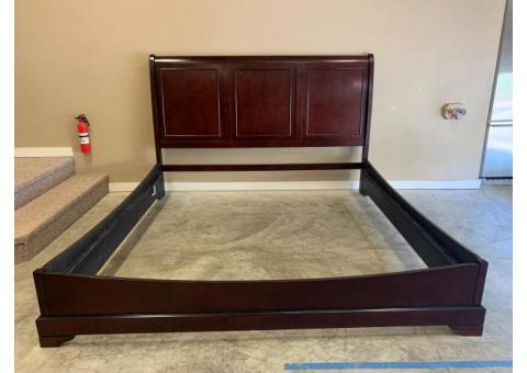 King Bed Frame with Foundation & Mirror